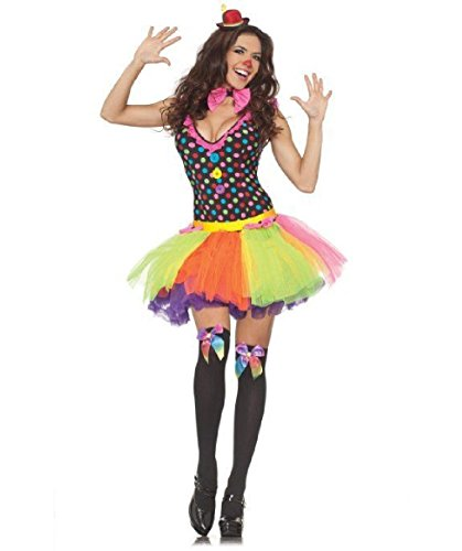 [OvedcRay Clowning Around Woman Costume Mardi Gras Circus Clown Polka Dot Lady Costume] (Captain Caveman Costume)
