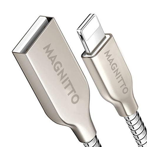 Metal Durable - MAGNITTO USB Charging Cable Metal Braided Cord, Strong and Durable Premium Wire, Tangle Free, Charge and Data sync at high Speed (2.4amp, 3.3ft, Silver Charger Cable)