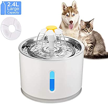 OurLeeme Fuente de Agua para Mascotas, 2.4L Perro Gato Fuente de ...