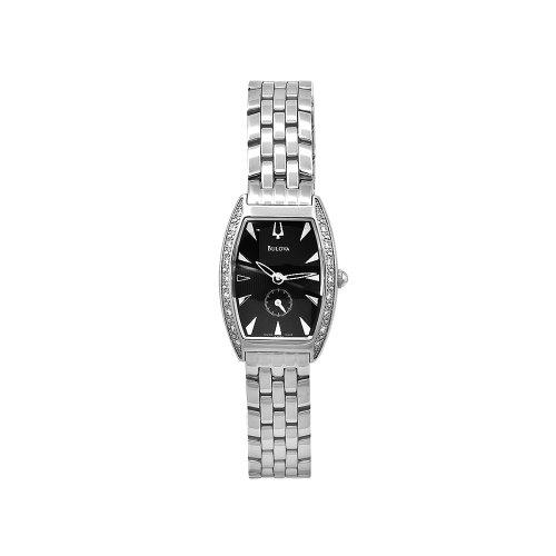 Bulova Women's 63R44 Diamond Bezel Black Dial Watch