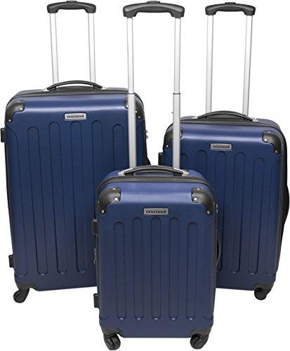 Protezioni rigide-Kofferset normani - Trolley in ABS, valigetta, valigetta da viaggio, blu scuro (Blu) - 9858598191720