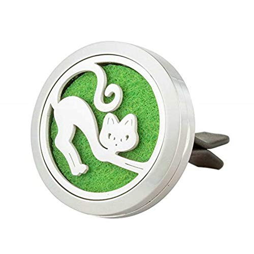(joymiao Aromatherapy Car Air Freshener Stainless Steel Vent Clip Cat Locket Animal Jewelry for Men - Women Birthday)