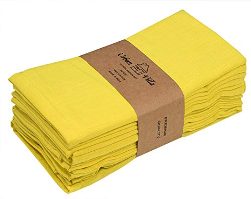Solid Bright Yellow Color,Dinner Napkins, Everyday Use, Premium Quality,100% Cotton Slub, Set of 12, Size 20X20 Inch,Over Sized Cloth Napkins with Mitered Corners, Ultra Soft, Durable Hotel -