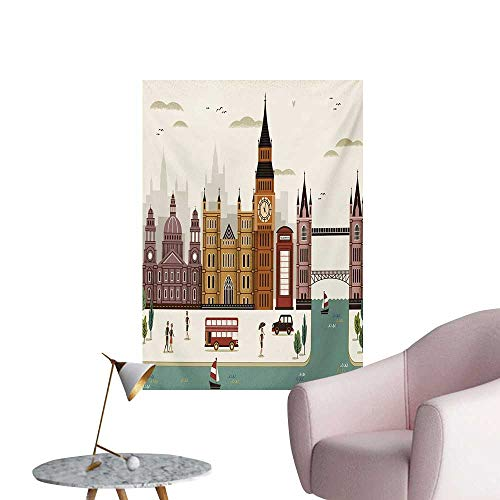 Anzhutwelve London Photographic Wallpaper Attractive Travel Scenery Famous City England Big Ben Telephone Booth WestminsterMulticolor W24 xL32 Wall Poster