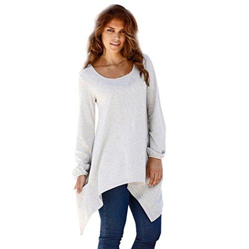 Womens Swing Tunic Tops Loose Fit Comfy Flattering Irregular T Shirt with Pocket (XXL, Gray) (Brooch Bolero)
