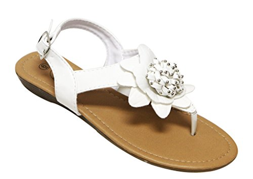 Bolaro Df5045 Sandalo Infradito Da Donna Con Zeppa Vivace Fiore Flip-flop Bianco