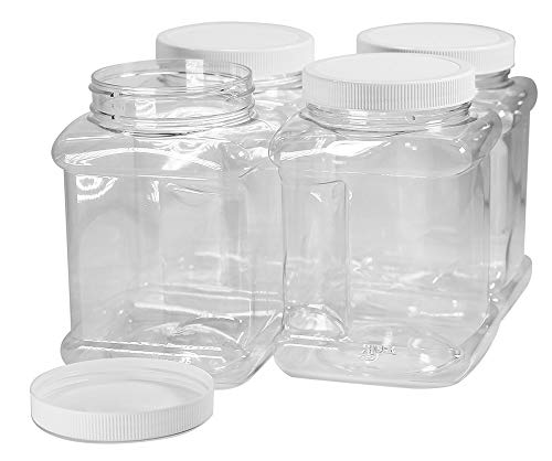 Pinnacle Mercantile 40 oz Plastic Containers Jars with Lids Square 4 Pack BPA Free Food Grade Made in the USA - Containers Plastic Square