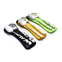 Stainless steel Fork & Spoon Set with Ceramic Handle and Carrying Case (Black/Green/Orang)