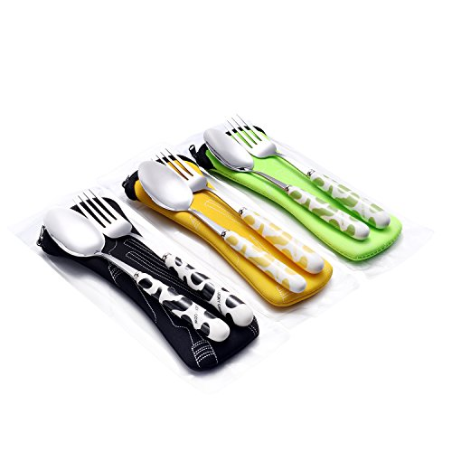 Stainless steel Fork & Spoon Set with Ceramic Handle and Carrying Case (Kids Ceramic)