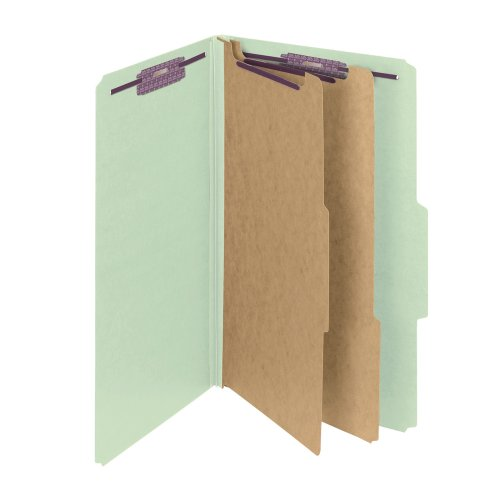 Pressboard 2 Divider (Smead Pressboard Classification File Folder with SafeSHIELD Fasteners, 2 Dividers, 2