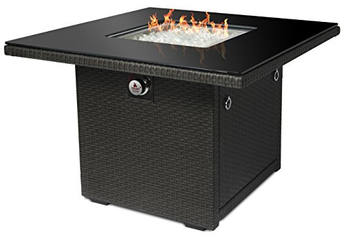 Outland Fire Table 36-Inch Square, Aluminum Frame Propane Fire Pit Table w/Black Tempered Glass Tabletop Resin Wicker Panels & Glass Rocks, Model 410 42,500 BTU Auto-ignition (Slate Grey)