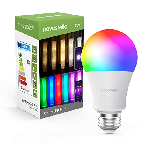 Novostella Dimmable LED Lights Bulbs RGB Color Changing 2700K to 6500K Wifi Smart Bulb for Home Floor Lamps Works with Alexa and Google Home (7W Equivalent to 60 Watt, A19 E26)