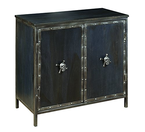 Pulaski DS-P006002 Industrial Metal and Wood 2 Door Accent Chest with Skull Hardware, 28