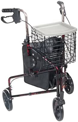 3-Wheel Walker Rollator with Basket Tray and Pouch in Flame Red