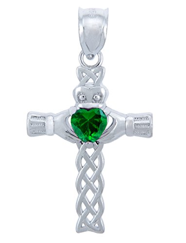 May Birthstone Green Heart CZ Sterling Silver Claddagh Cross Pendant