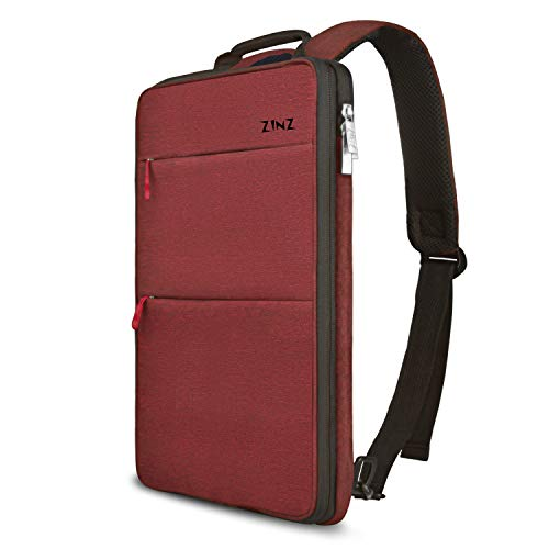 Slim & Expandable Laptop Backpack 15 15.6 16 Inch Sleeve with USB Port, Spill-Resistant Notebooks Bag Case for Most 14-16 Inch MacBooks Surface-Books Dell HP Lenovo Asus Computers, Wine Red