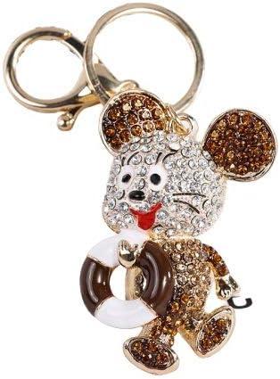 Llavero de Diamantes Salvavidas ratón Aleación de Zinc es Durable (Color : Champagne)