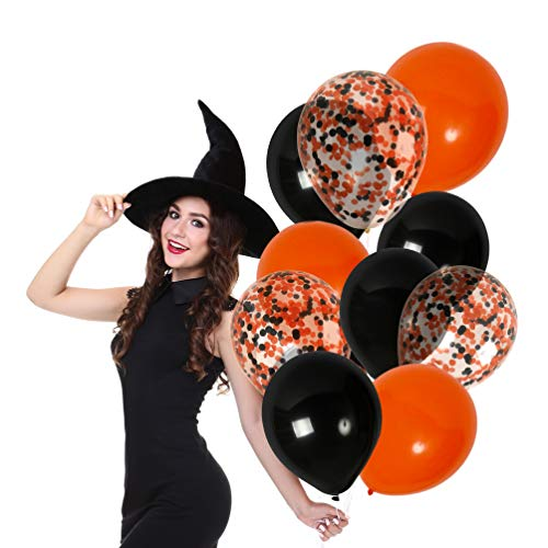 (Treasures Gifted Halloween Balloons Orange and Black Confetti Decorations Kit 12 Inch Latex Assorted Colorful Solid Pack Decor for Haunted Mansion)