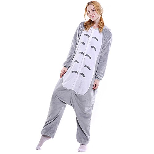 [FLEAP Onesie Pajamas Animal Sleepwear Kigurumi Cosplay Cartoon Nightwear Halloween,Totoro,Small] (Totoro Costume Halloween)