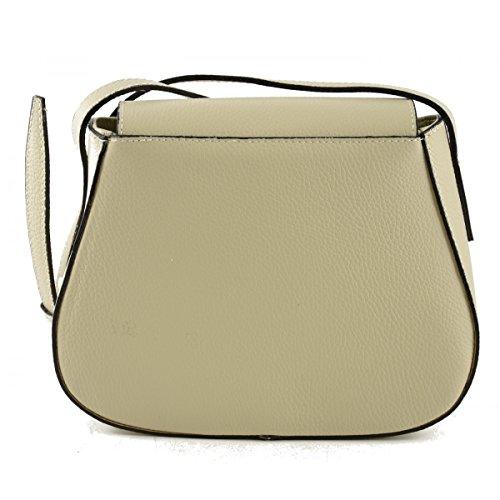Echtes Leder Schultertasche Farbe Beige - Italienische Lederwaren - Damentasche