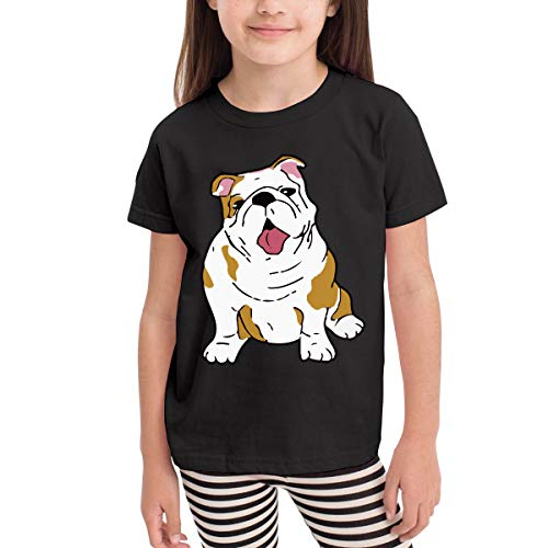 English Bulldog Costume Infant Kids Crewneck Short Sleeve Shirt Tee Jersey for 2-6 Toddlers Black ()