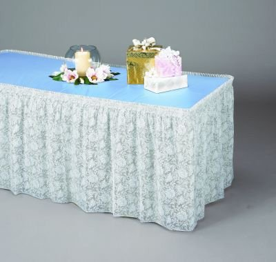 White Lace Plastic Table Skirting