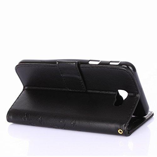 Yiizy Samsung Galaxy J5 Prime / G570 Custodia Cover, Erba Fiore Design Sottile Flip Portafoglio PU Pelle Cuoio Copertura Shell Case Slot Schede Cavalletto Stile Libro Bumper Protettivo Borsa (Nero)