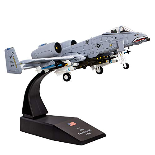 HANGHANG 1/100 A-10 Thunderbolt II Warthog Attack Plane(Painted Version) Metal Fighter Military Model Diecast Plane Model for Collection or Gift