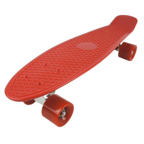 """Welcomeget Vinyl Plastic Cruiser Skateboard Complete 22"""" Stereo-Sonic Tail Red/Red"""