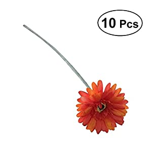 BESTOYARD 10pcs Artificial Flowers Fake Simulation Silk Gerbera Daisy Bouquet Bride Bridesmaid Flowers for Wedding Party Home Office Garden Patio Decoration (Light Orange) 34