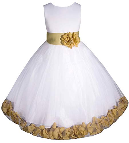 AMJ Dresses Inc Big-Girls' White/Gold Flower Girl Dress E1008 Sz ()