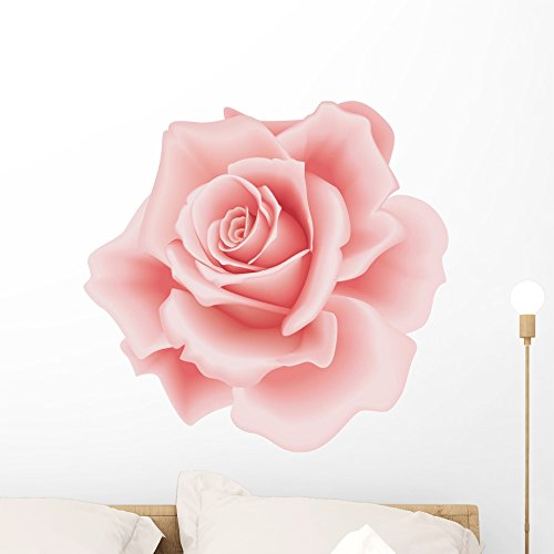 Wallmonkeys Pink Rose Wall Decal Peel Stick Floral Graphic (24 in H x 24 in W) WM213485