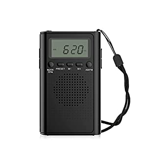 AM FM Pocket Radio,Portable Digital Radio Alarm Clock with 3.5mm Earphone Jack and Supporting Stereo Mode for Bedroom,Outdoor(Without Battery)