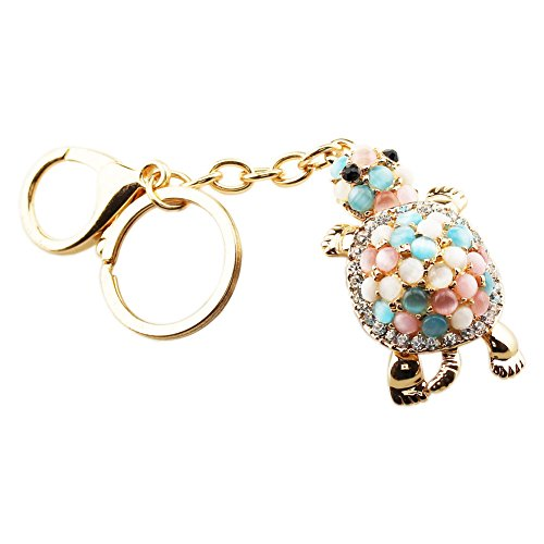 Tortoise Rhinestone (FOY-MALL Cute Tortoise Opal Rhinestone Plating Alloy Women Bag Keychain Gift H1017)
