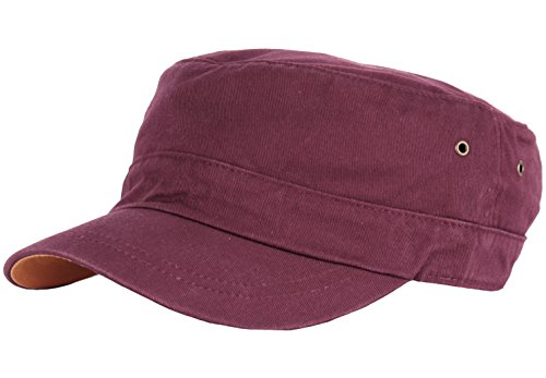 RaOn A127 Washed Feel Simple Design Club Cool Style Urban Army Cap Cadet Military Hat (Wine)