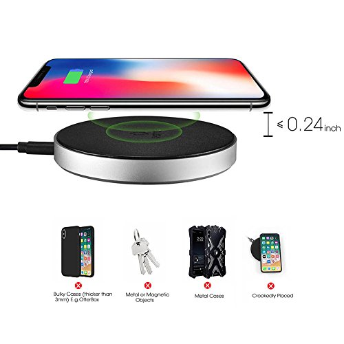 DESTEK iPhone X Fast Wireless Charger – Quick Wireless Charging Pad for iPhone & Samsung (7.5W for iPhone X 8 8plus, 10W for S9+ S8 Note8), 5W for Others Qi-Enabled Smartphones (with 18W Adapter) by DESTEK (Image #3)