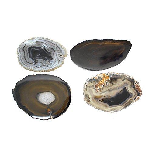 (Rock Paradise Black Agate Slices - Set of 4 - A Grade ~3-5