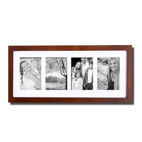 (Deco De Ville 4 Opening Contemporary Urban Design Style Wood Decorative Puzzle Collage Picture Photo Frame, Wall Hanging, 3.5x5, Walnut Color)