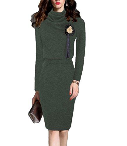 82eea6862cf5 In Donna Vestito Collo Maglia Invernale Alto Maxi Maglione Elegante Abito  Verde Emmarcon w1ZIYI