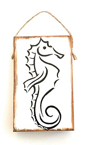 (Mini Tropical Sea Horse Hanging Sign Ornament, 4 x 2.5 x .75 inches, Miniature Hand Crafted Wood Ornament)