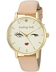 kate spade new york Womens Metro Quartz Stainless Steel and Leather Casual Watch, Color:Beige (Model: KSW1210)