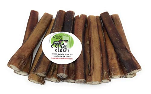 Sancho & Lolas 6 Thick Bully Sticks for Dogs Made in USA~20oz (14-17) Grain-Free Pizzle Dog Chews