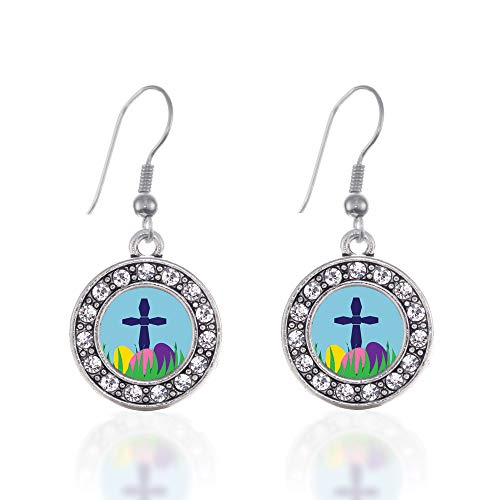 Inspired Silver - Easter Cross & Eggs Charm Earrings for Women - Silver Circle Charm French Hook Drop Earrings with Cubic Zirconia Jewelry (French Cross Earrings Hook)