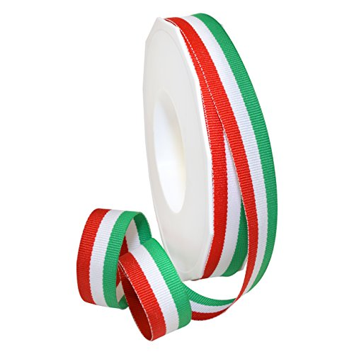 Italian Ribbon (Morex Ribbon 99503/20-816 Polyester Grosgrain Stripes, 5/8