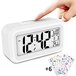 PATGO Digital Alarm Clock White Battery OperatedUnicorn LCD Large Display Multifunctional Clock with Snooze, Time, Alarm time, Temperature, Date for Heavy Sleepers, DIY Enthusiasts