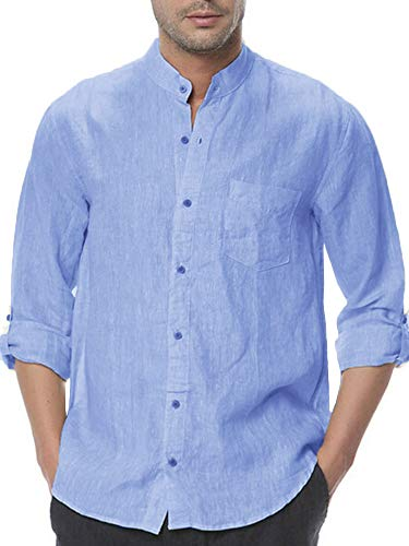 Makkrom Mens Button Down Cotton Linen Shirts Long Sleeve Roll-up Stand Neck Casual Loose T-Shirts with Pocket Sky Blue