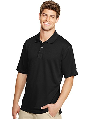 (Champion Double Dry Men's Solid-Color Polo Shirt_Black_XXXX-Large)