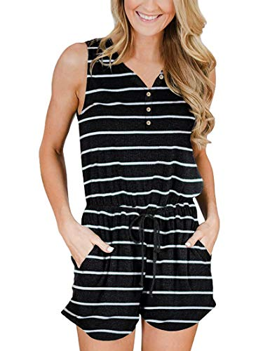 YIBOCK Women's Summer Sleeveless Button Down Striped Short Jumpsuit Cami Romper (A-Black, M)
