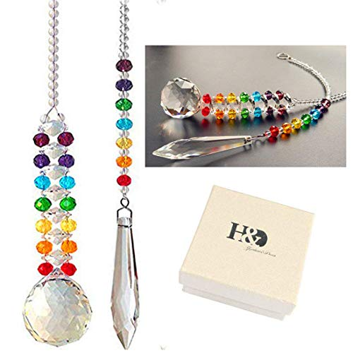 HampD HYALINE amp DORA Chakra Hanging Crystal Sun Catcher for Window Decoration with 30mm/118quot Crystal Prism Ball and Icicle PendantPack of 2