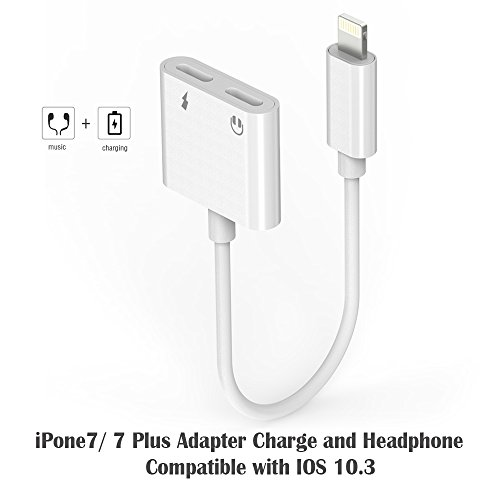 iPhone 7 Adapter, iPhone 7 Plus Accessories Charge and Headphone Splitter Adapter for Lightning
